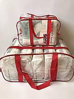 Набор из 2 прозрачных сумок в роддом - S,L - Красные