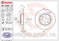 Передний (не вентилируемый) тормозной диск на Logan 2 BREMBO 08.A268.10