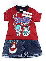 Детские костюмы 1 год Турция летний с шортами для мальчиков красный (КД22)