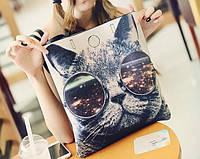Большая сумка шопер с принтом кота
