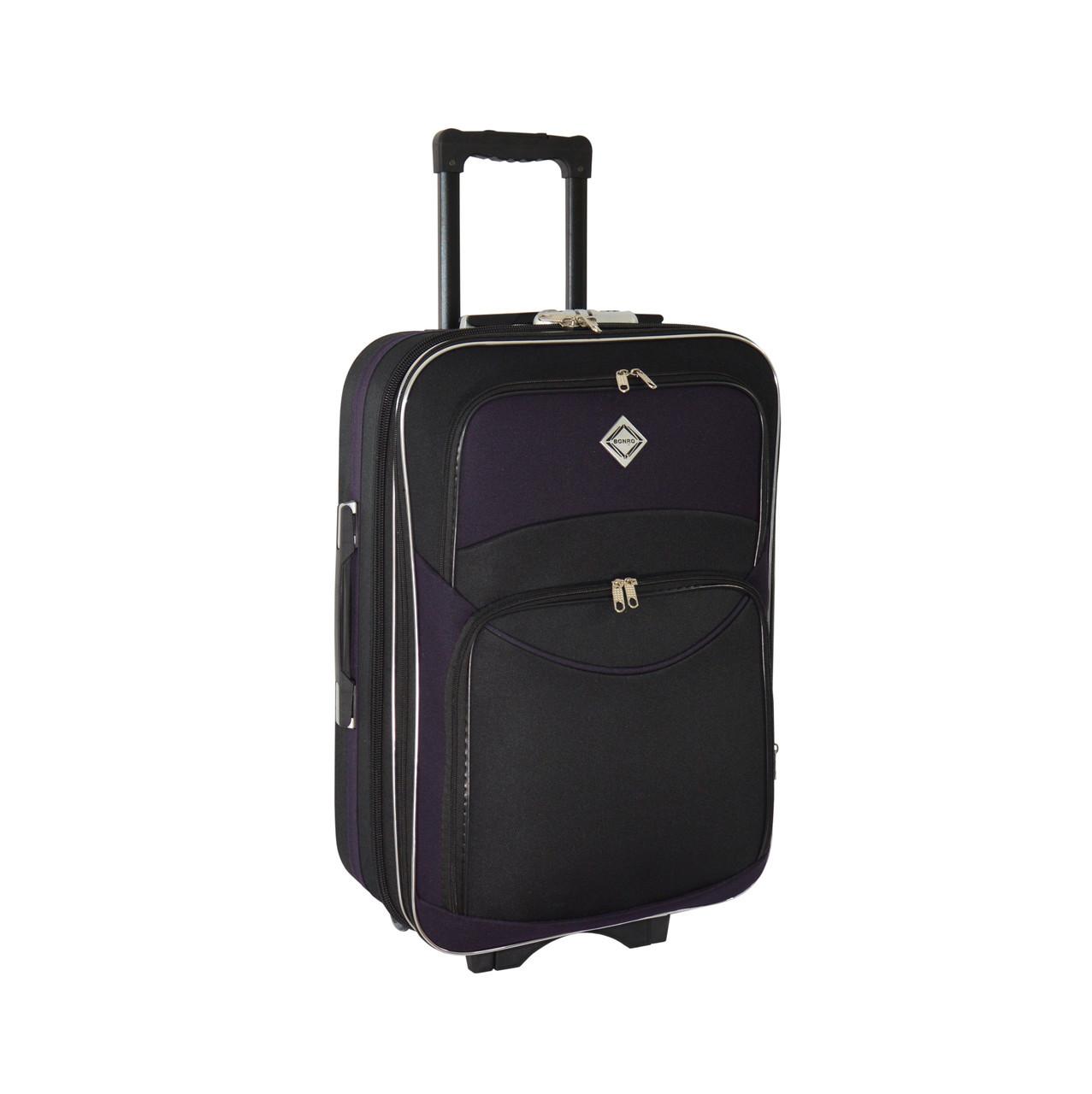 Чемодан Bonro Style (небольшой) черно-темно фиолетовый