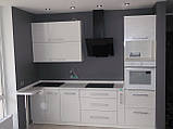 Кухня хай-тек белая металлик МДФ пленка, фото 3