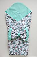 """Летний конверт-одеяло на выписку """"Лошадки"""" мятный"""