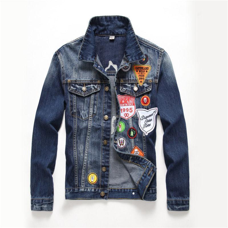 Брендовая мужская джинсовая куртка-(Gothic) в американском стиле.