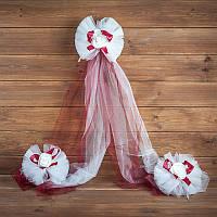 Украшение свадебной машины  бордового цвета (арт. ADC-10)