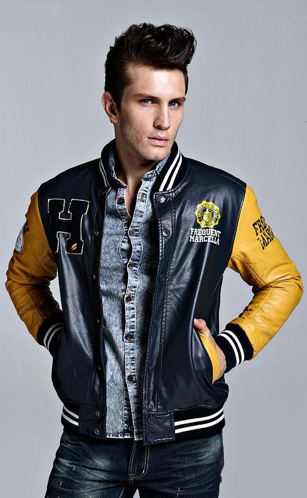 Красивая мужская кожаная куртка-(Kenntrice )-Британский стиль.