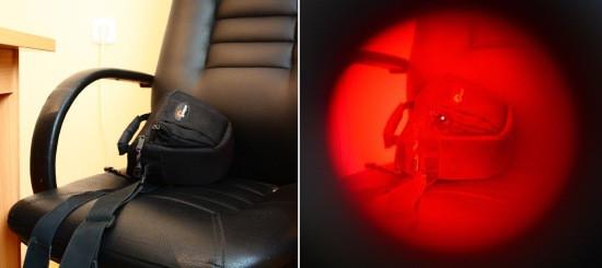 приклад виявлення прихованої камери в рюкзаку за допомогою BugHunter DVideo, DVideo Nano, DVideo Econom