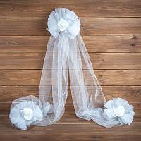 Украшение свадебной машины  серебристого цвета (арт. ADC-15)