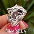 Мужская серебряная печатка кольцо Волк - Кольцо Волк серебро , фото 6