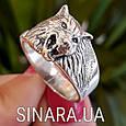 Мужская серебряная печатка кольцо Волк - Кольцо Волк серебро , фото 2