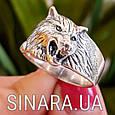 Мужская серебряная печатка кольцо Волк - Кольцо Волк серебро , фото 5