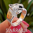 Мужская серебряная печатка кольцо Волк - Кольцо Волк серебро , фото 3