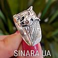 Мужская серебряная печатка кольцо Волк - Кольцо Волк серебро , фото 7