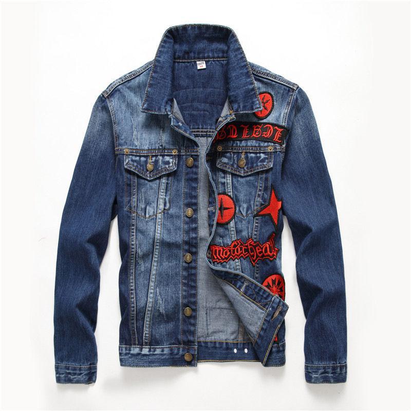 Модная мужская джинсовая куртка в европейском и американском стиле.