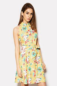 Короткое желтое платье с цветочным принтом и поясом (Elite crd)