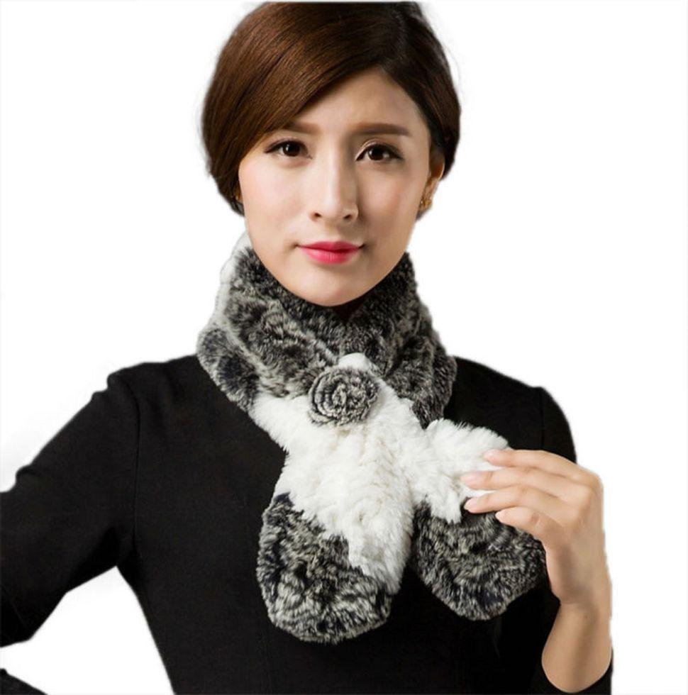 Натуральный шарф из кролика.