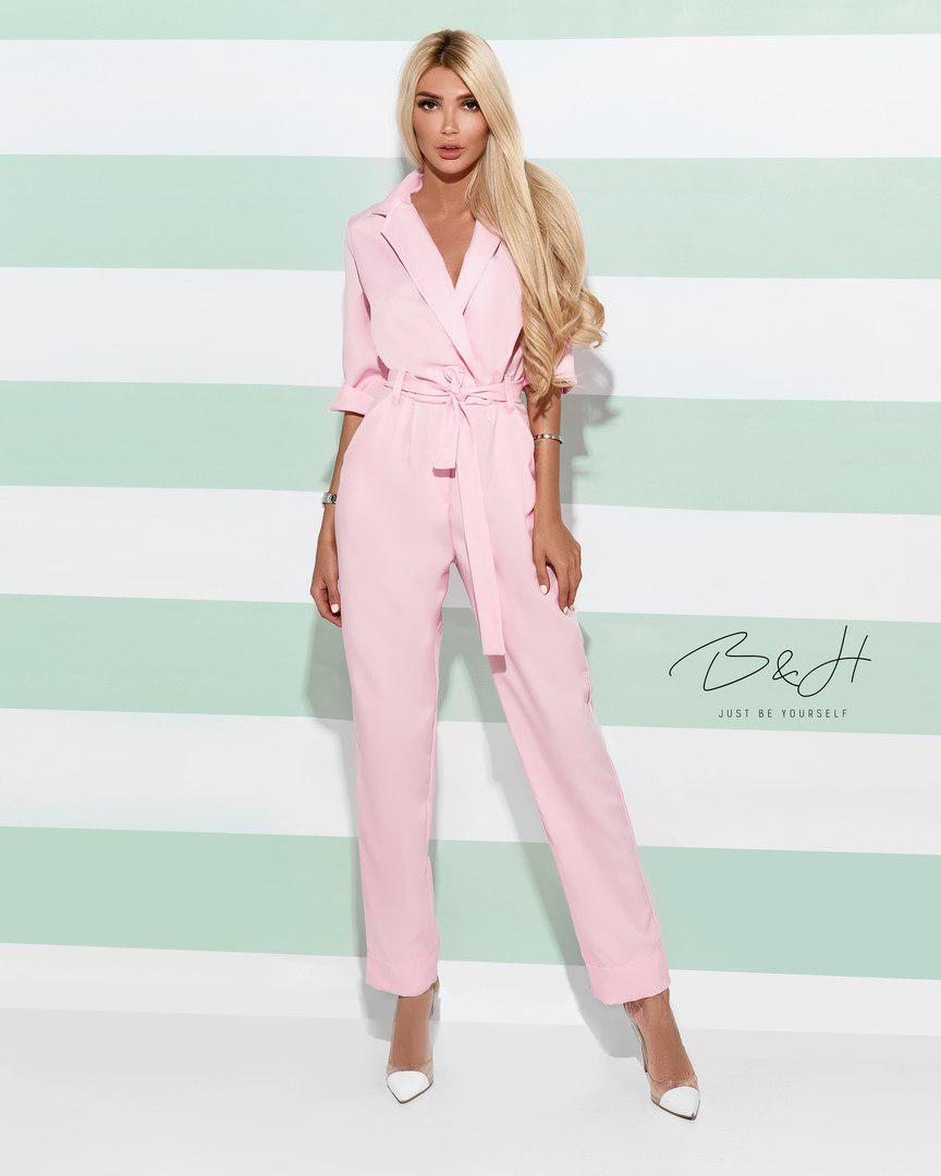 adc4b8b2935 Женский стильный комбинезон брюками с поясом на талии и карманами ...