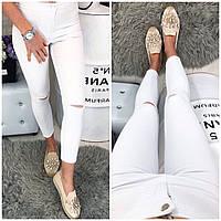 0781 прорезь белый Bikelife (S-XL, 8 ед.) джинсы женские 7/8 летние стрейчевые, фото 1