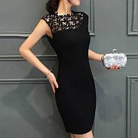 Платье женское с кружевом на груди черное 44, фото 1