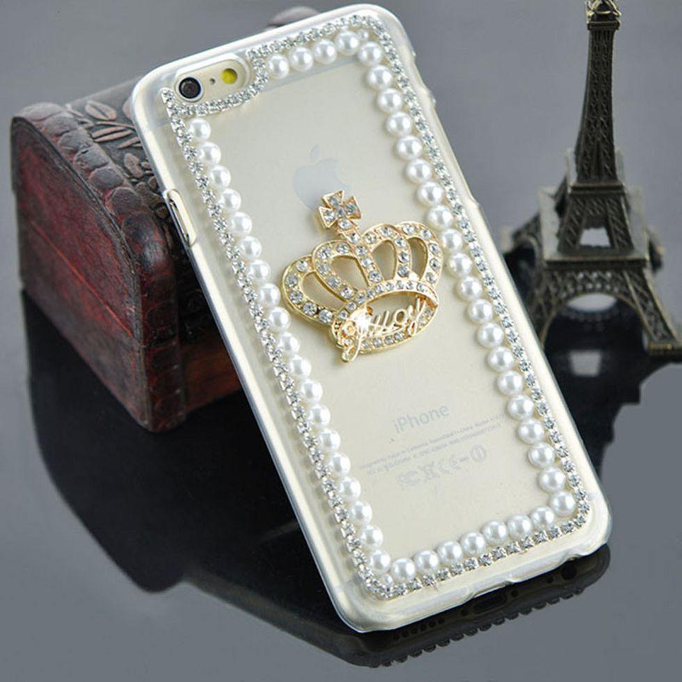 Прозрачный роскошный чехол-(КОРОНА) с чистого жемчуга для iphone 5 5S SE 6 6 S/Плюс 6 плюс