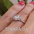 Серебряное кольцо солитер с одним камнем, фото 2