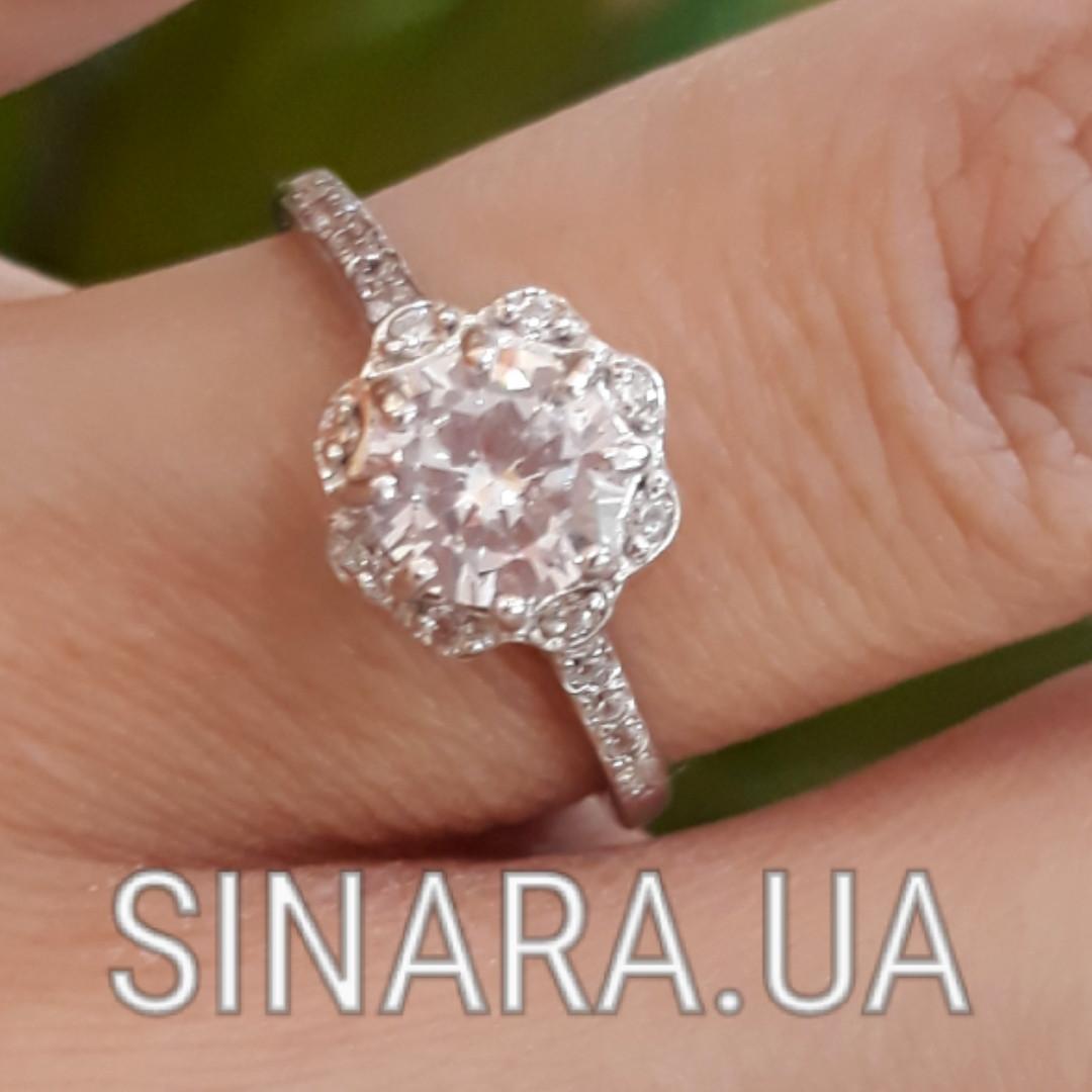 Серебряное кольцо солитер с одним камнем