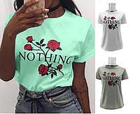 Футболка-блуза Роза короткий рукав с принтом серая, мята, белая .Наличие размеров в описании., фото 1