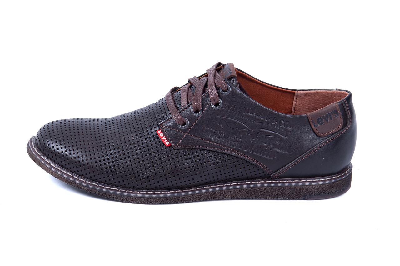 Мужские кожаные летние туфли  Levis Strauss Chocolate Area перфорация