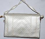 Женский молодежный серебристый клатч на ремешке 26*17 см, фото 3