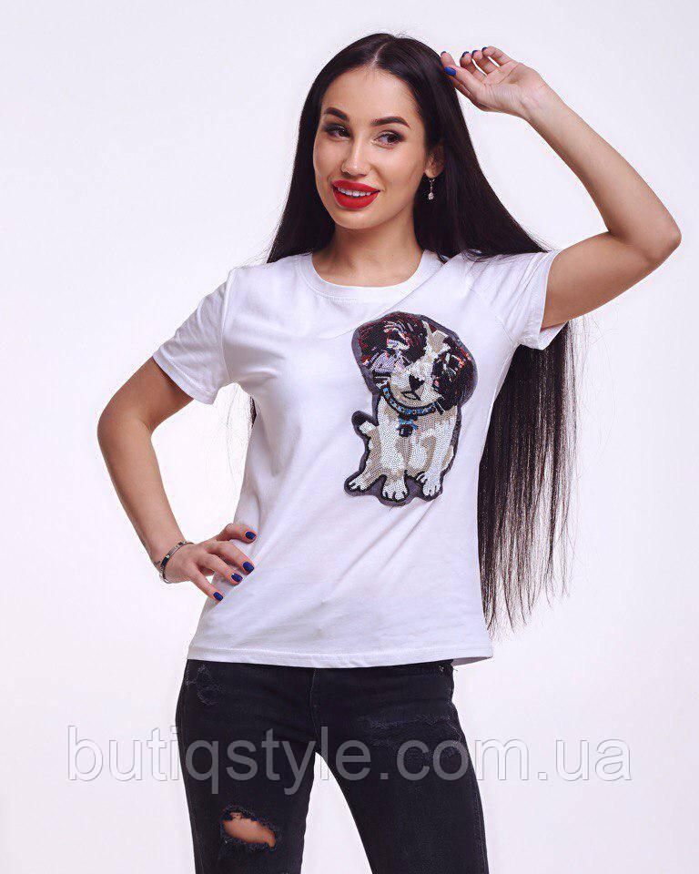 Женская футболка с аппликацией из пайеток только белая