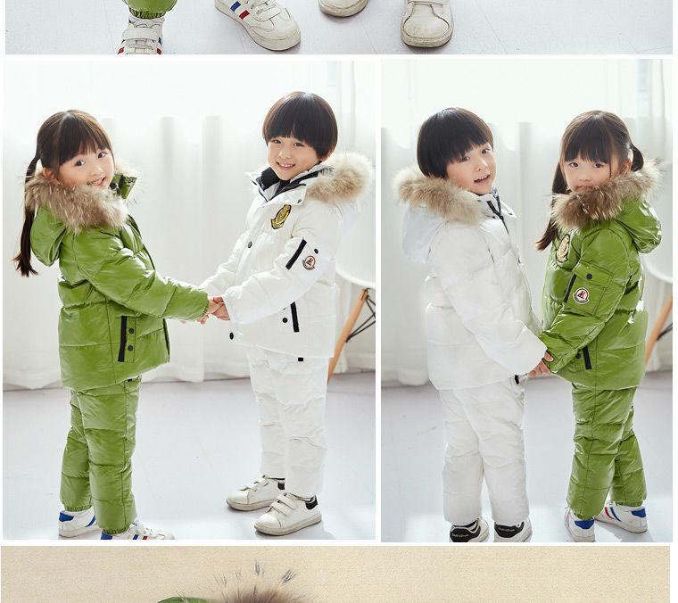 Супер теплый детский зимний костюм комплект для мальчиков и девочек из теплой куртки-пуховика с гусиным пухом.