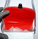 Женский маленький черно-белый клатч на ремешке 15*13 см, фото 3
