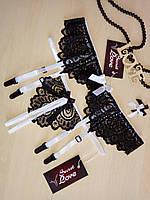 Кружевной комплект пояс для чулок и стринги с вырезом черно-белый. Размеры от XS до XXL, фото 1