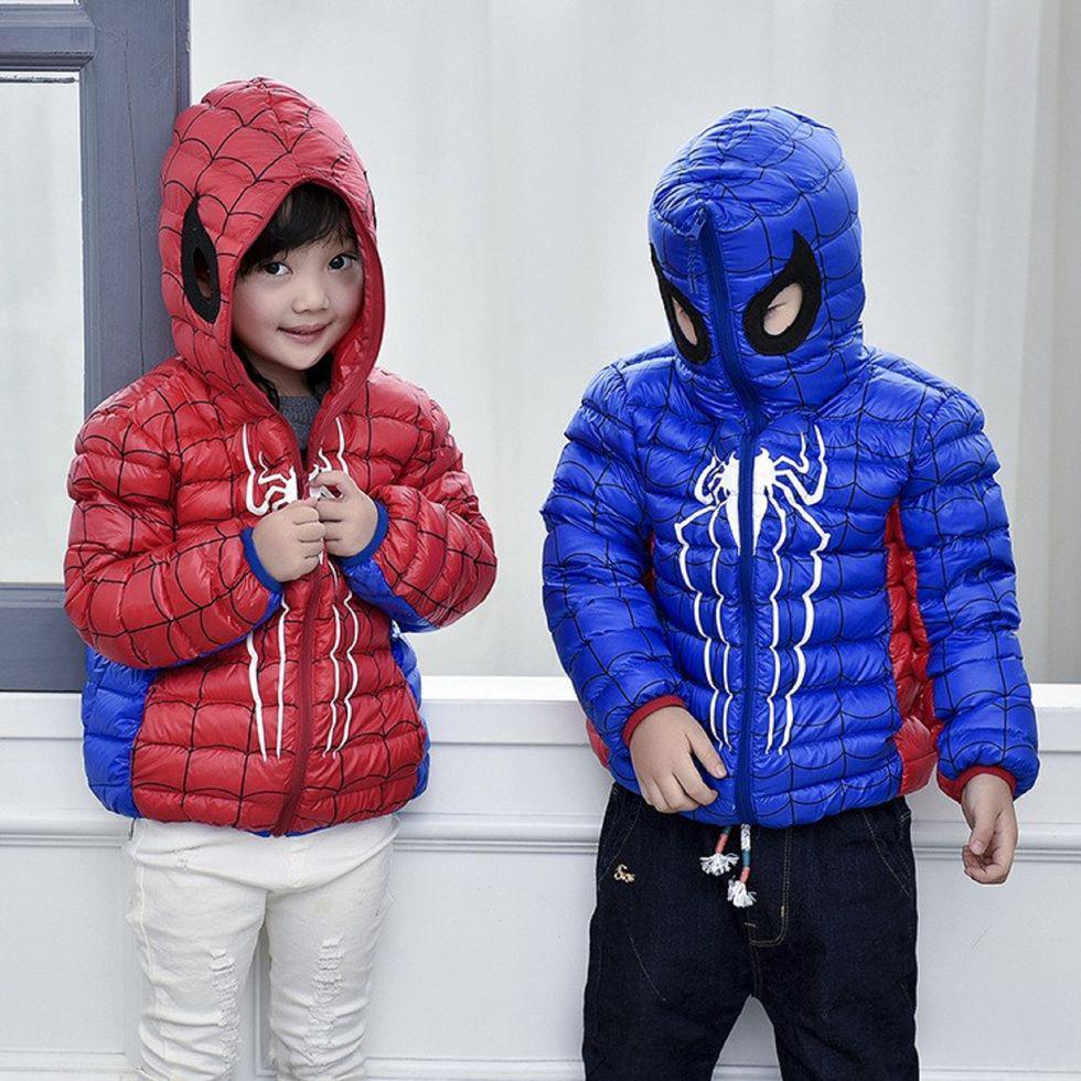 Ультра легкая куртка-пуховик для мальчиков и девочек с капюшоном-Человек-паук