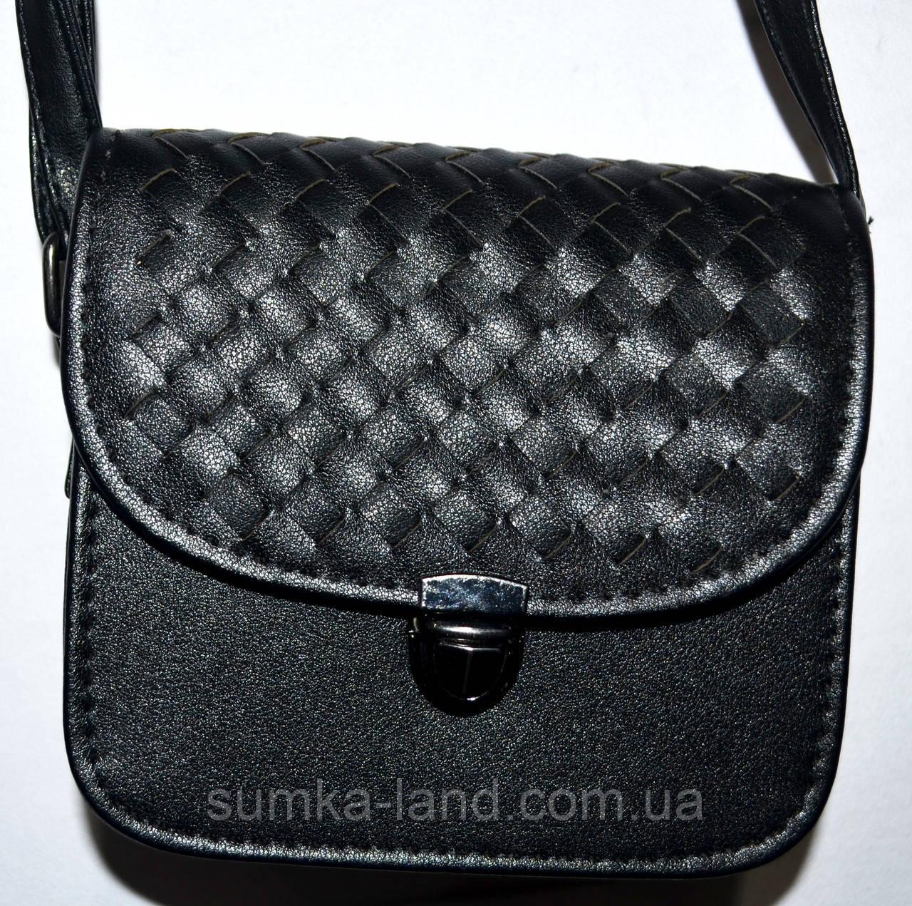 Женский маленький черный клатч на ремешке 15*13 см