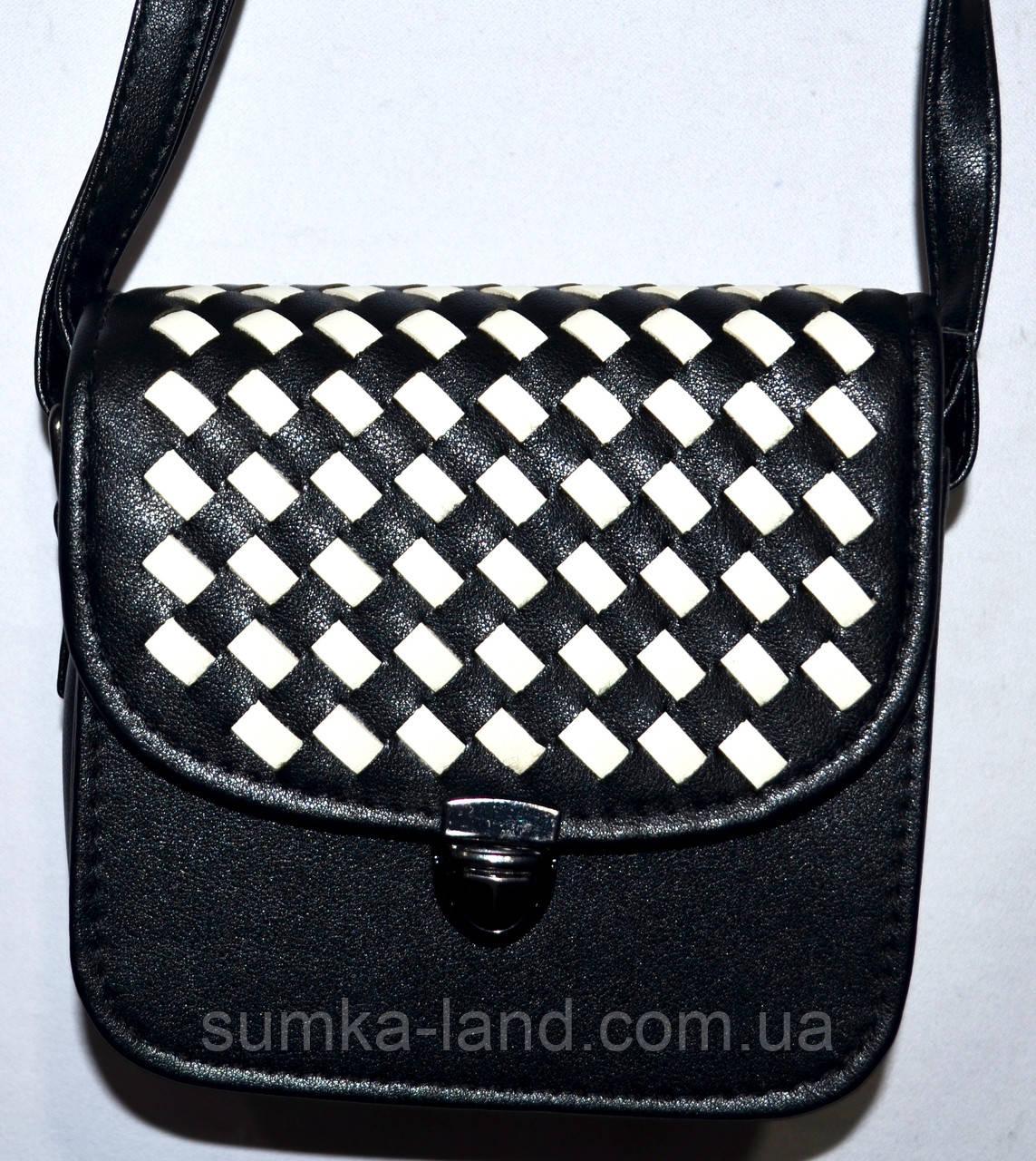 Женский маленький черно-белый клатч на ремешке 15*13 см