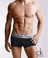 Трусы мужские Calvin Klein Steel Кельвин Кляйн чёрные с серебристой резинкой (реплика)