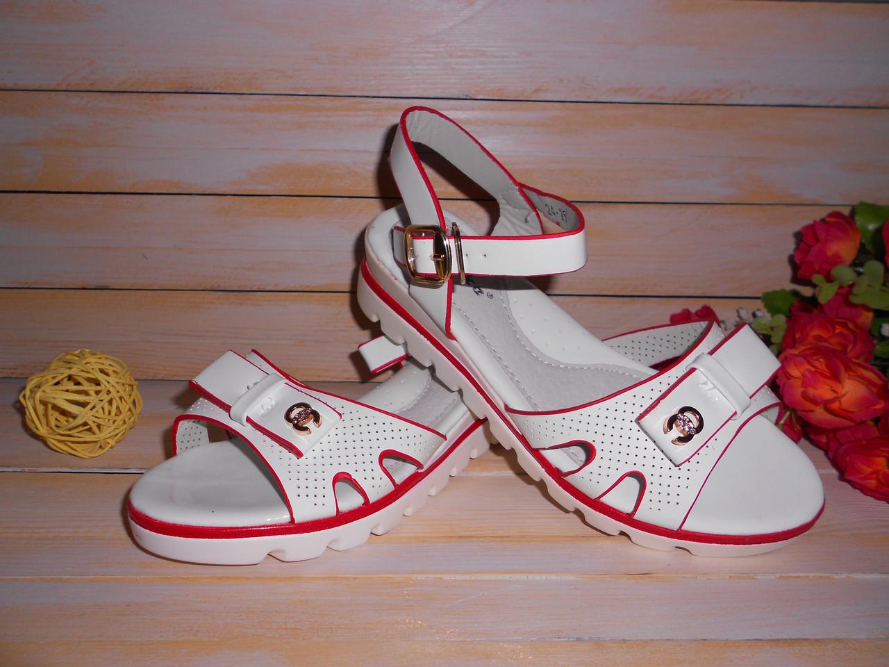 4a24e2d80 Белые нарядные босоножки для девочки р32 с красной окантовкой ...