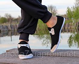 Мокасины - чешки мужские черные на шнурках, фото 3