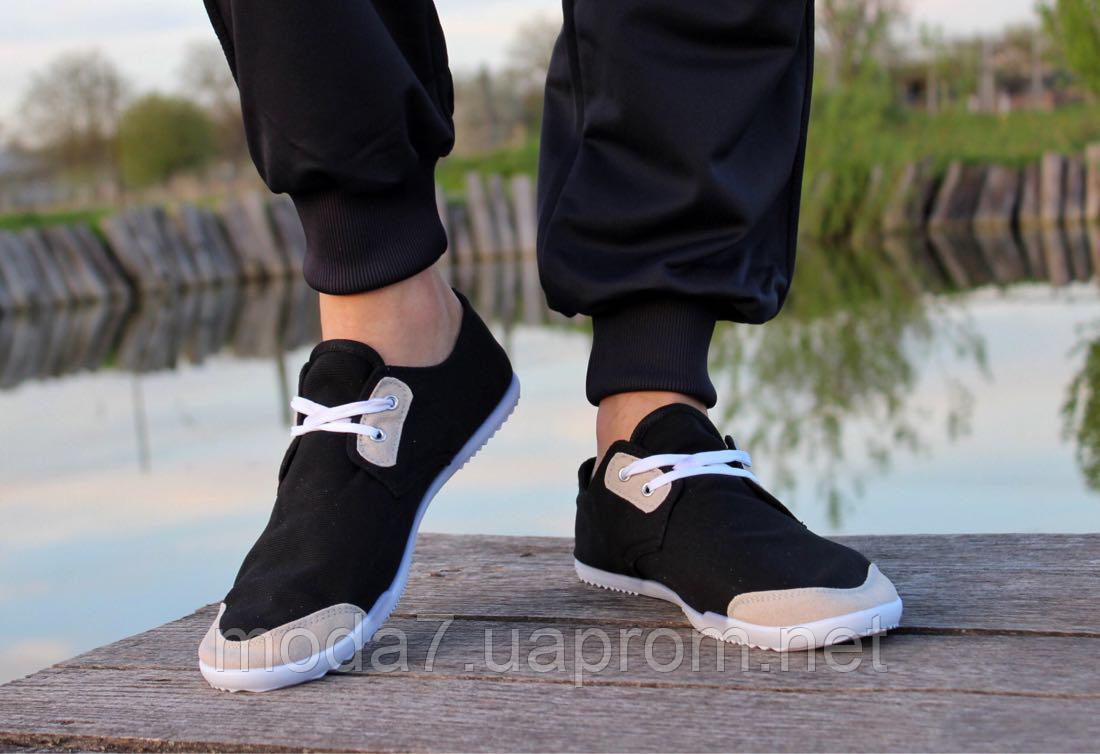 Мокасины - чешки мужские черные на шнурках