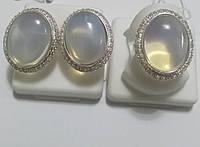 Комплект Атлантида из серебра с лунным камнем