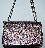 Женский модный серебристый клатч с глиттером на цепочке 21*13 см, фото 2