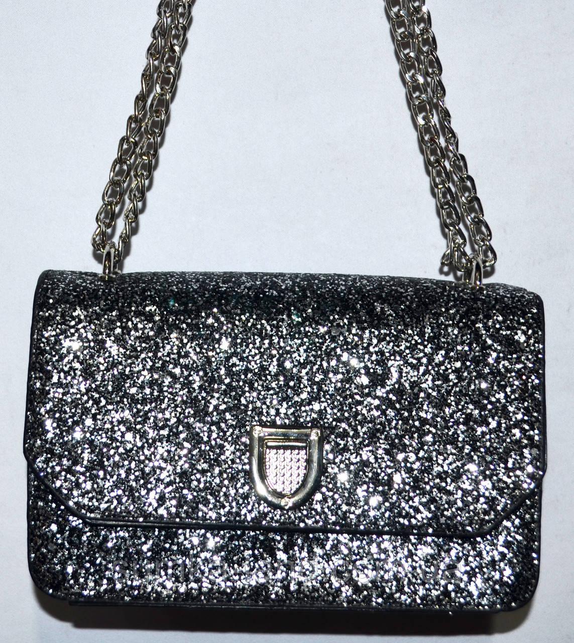 Женский модный черный клатч с глиттером на цепочке 21*13 см