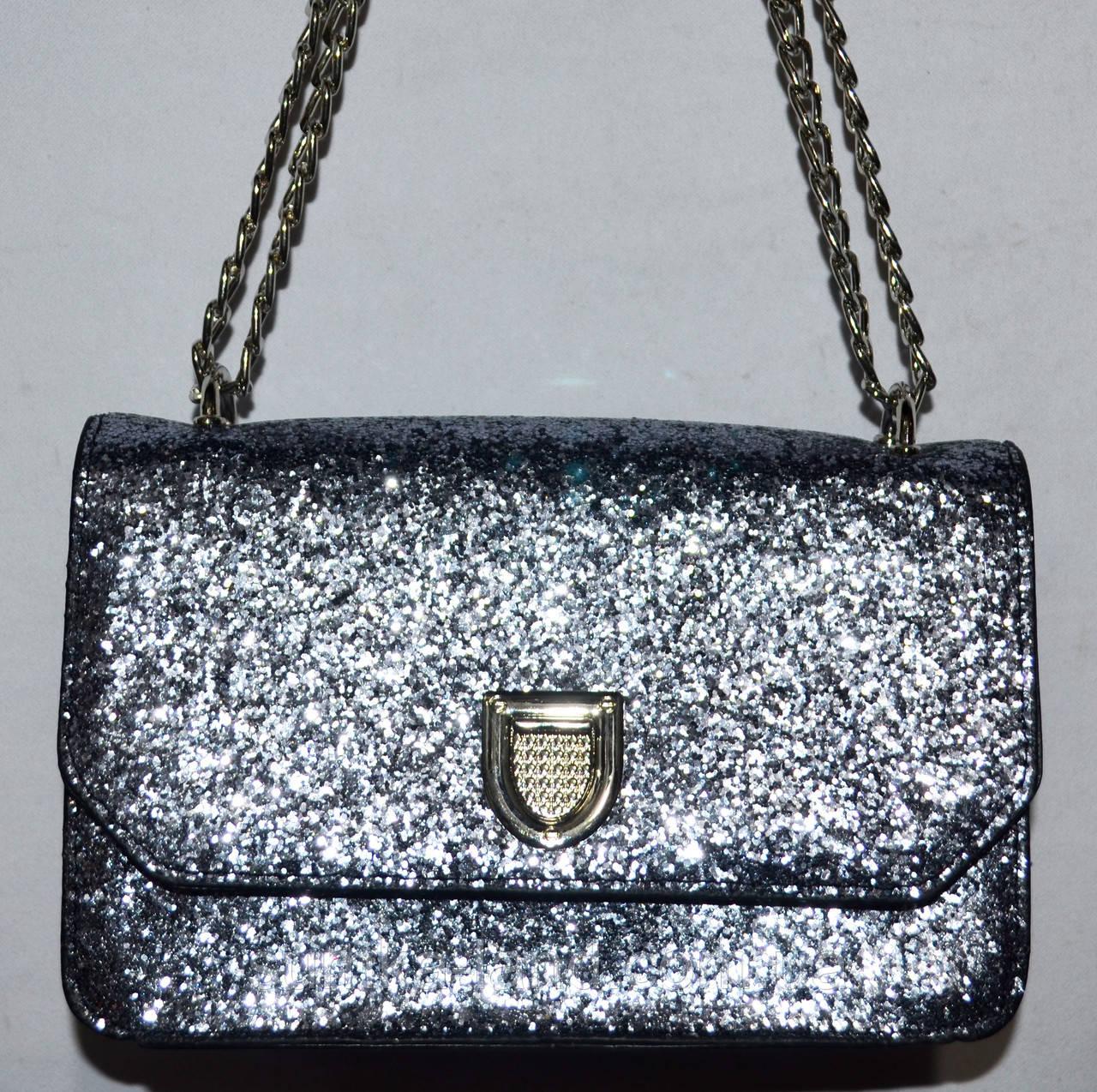 Женский модный серебристый клатч с глиттером на цепочке 21*13 см