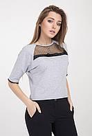 Молодежная женская блуза светло-серого цвета