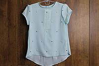 Шифоновая блузка с жемчугом. 122- 152 рост.