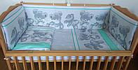 Комплект постельного белья в детскую кроватку Мишка подушка серозеленый  из 3-х элементов