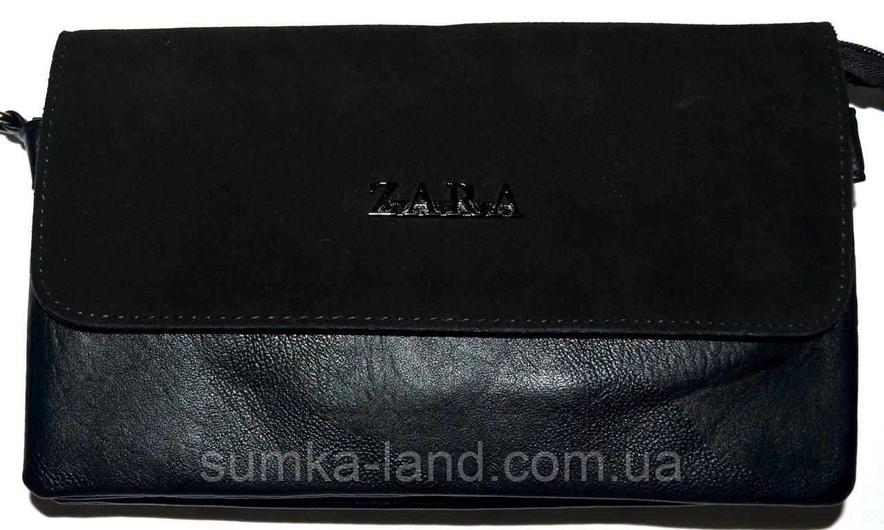 Женский черный клатч Zara с замшевым клапаном на 2 отделения внутри 26*14 см
