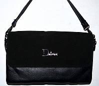 f29287e5363b Женский черный клатч Dior с замшевым клапаном на 2 отделения внутри 26*14 см