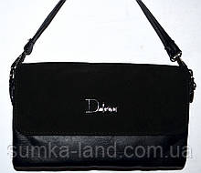 Женский черный клатч Dior с замшевым клапаном на 2 отделения внутри 26*14 см